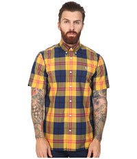 Fred Perry Bold Check Shirt Mustard Men's Short Sleeve Button Up Yellow