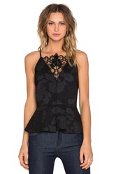 1. State Racerback Peplum Tank With Leather Lace Black