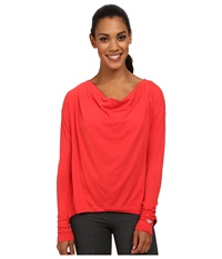 New Balance Draped Layer Long Sleeve Top Cerise Women's Long Sleeve Pullover Red
