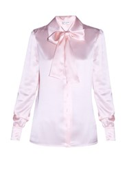 Saint Laurent Lavalliere Neck Satin Blouse Light Pink