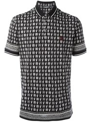 Dolce And Gabbana Cactus Print Polo Shirt Black
