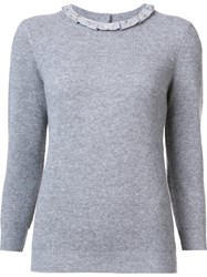 Carolina Herrera Embellished Frill Collar Jumper Grey