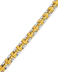 Macy's Men's Satin Cross Bracelet In Gold Plated Ip Stainless Steel