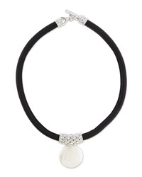 Majorica Storm Coin Pearl Pendant Necklace W Leather Cord White