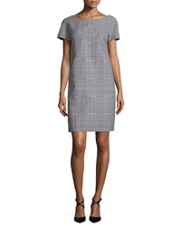 Michael Kors Combo Glen Plaid Shift Dress Black Scarlet White