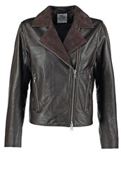 Wood Wood Jacki Leather Jacket Seal Brown Dark Brown