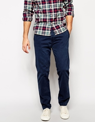 Abercrombie And Fitch Chinos In Slim Straight Fit Navy