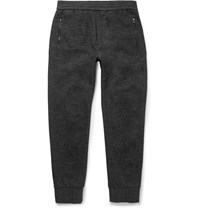 Solid Homme Tapered Melange Wool And Cotton Blend Sweatpants Gray