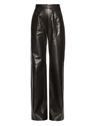 Maison Rabih Kayrouz High Rise Wide Leg Leather Trousers