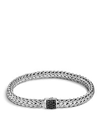 John Hardy Classic Chain Sterling Silver Small Bracelet With Black Sapphire Clasp Black Silver