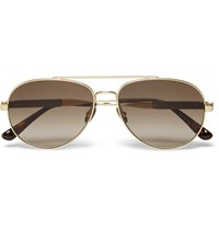Bottega Veneta Aviator Style Leather Trimmed Metal Sunglasses Gold
