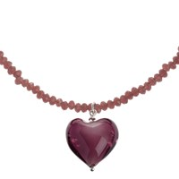 Martick Murano Glass Heart Pendant Necklace Blackberry