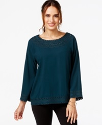 Studio M Embroidered Top Spruce