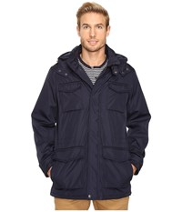 Perry Ellis Poly Zip Front With Snap Placket Removable Hood Navy Men's Coat