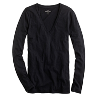 J.Crew Vintage Cotton Long Sleeve V Neck Tee Black