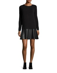 Bailey 44 Jersey Knit And Faux Leather Flounced Dress Black