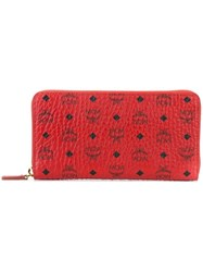 Mcm Logo Print Zipped Wallet Red