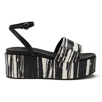 Mcq By Alexander Mcqueen Mcq Alexander Mcqueen Women's Seabright Snake Leather Flatform Sandals Black White