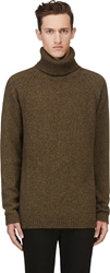 Maison Martin Margiela Olive Green Yak's Wool Turtleneck Sweater