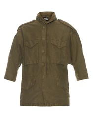 Nlst Oversized Cotton Blend Military Jacket Khaki