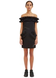 Christopher Kane Off The Shoulder Frilled Mini Dress Black