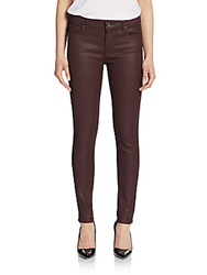 7 For All Mankind Gwenevere Coated Skinny Jeans Burgundy