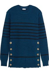Sonia Rykiel Embellished Striped Knitted Sweater Blue