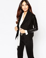 Wal G Lightweight Jacket With Pu Sleeves Black