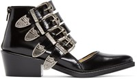 Toga Pulla Black Western Cut Out Buckle Boots