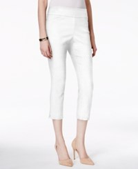Charter Club Pull On Jacquard Capri Pants With Tummy Control Only At Macy's Bright White