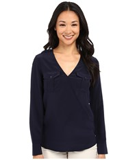 Trina Turk Carter Top Indigo Women's Long Sleeve Pullover Blue