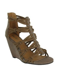 Mia Dylon Strappy Wedge Sandals Taupe