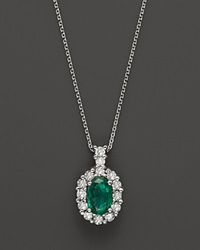 Bloomingdale's Emerald And Diamond Oval Pendant In 14K White Gold Multi