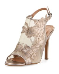 Kay Unger Justife Floral Leather Mesh Sandal Pewter Silver
