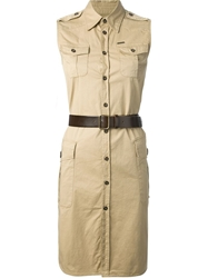 Dsquared2 Military Shirt Dress Nude And Neutrals