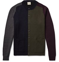 Wooster Lardini Wooter Colour Block Wool Cardigan Navy