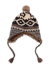 Forever 21 Mixed Pattern Pom Beanie