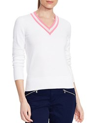 Lauren Ralph Lauren V Neck Cricket Sweater White