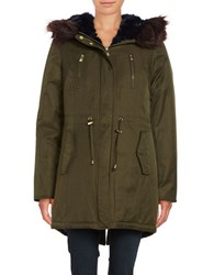 Betsey Johnson Faux Fur Trimmed Hooded Cotton Parka Olive Navy