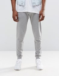 Asos Skinny Joggers With Zips In Grey Grey