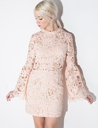 Pixie Market Peach Floral Lace Bell Sleeve Dress