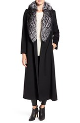 Fleurette Women's Wool Maxi Wrap Coat With Genuine Fox Fur Trim