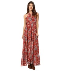 Brigitte Bailey Rashida High Neck Maxi Dress Red Print Women's Dress