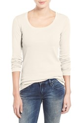 Caslonr Women's Caslon 'Melody' Long Sleeve Scoop Neck Tee Ivory Egret