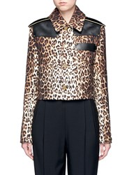 Givenchy Leather Patch Leopard Print Gabardine Jacket Brown Animal Print