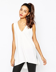 Daisy Street V Neck Tunic With Side Splits Cream