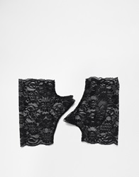 Asos Halloween Fingerless Lace Gloves Black