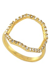Louise Et Cie Micro Pave Open Octagon Ring Gold Crystal