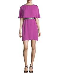 Halston Heritage Short Sleeve Flowy Caftan Dress Orchid