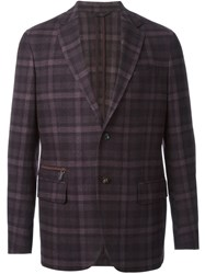 Ermenegildo Zegna Checked Blazer Pink And Purple